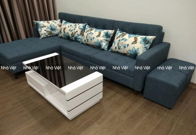 Bàn ghế sofa vải góc giao nhà chị Hoa B14 Kim Liên