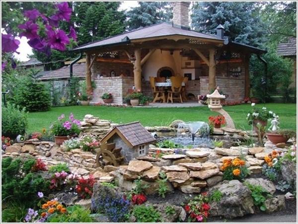 Nhà vườn đẹp đơn giản trang trí bằng đá xanh 4