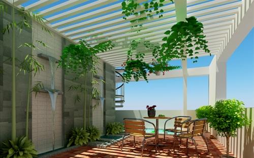 Thiết kế sân vường đẹp trên nóc nhà 2