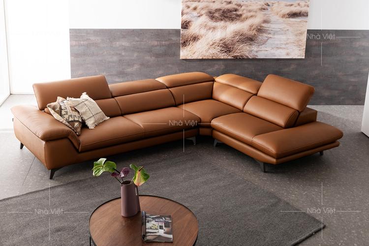Sofa da góc chữ L mã 196