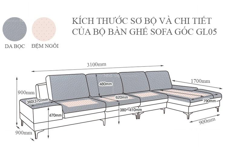 Sofa góc phòng khách rộng GL05