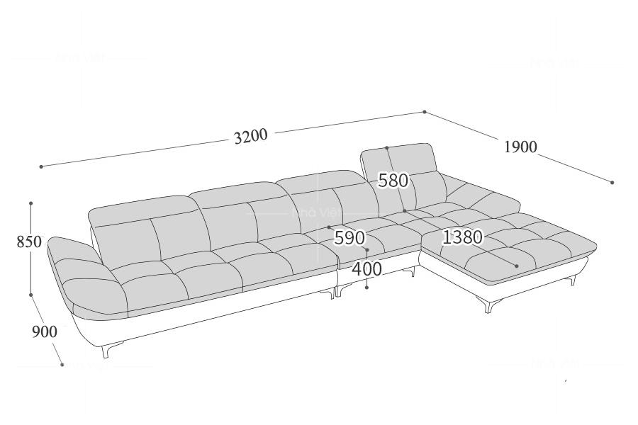 Sofa góc phòng rộng GL50