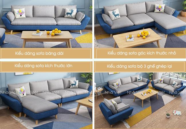 Sofa vải phối màu xanh và trắng mã 339