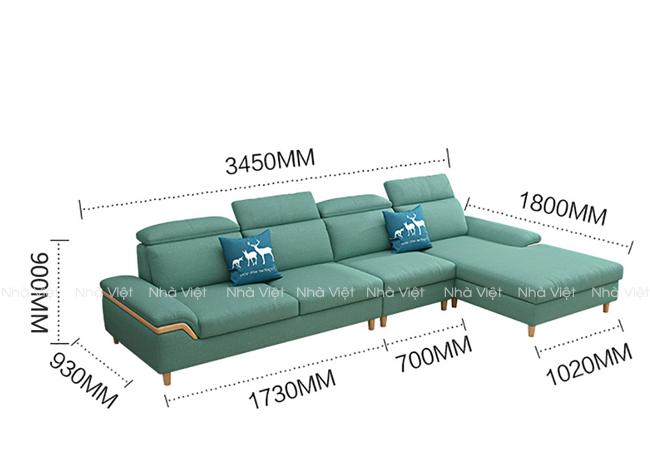 Sofa vải tay ốp gỗ mã 340