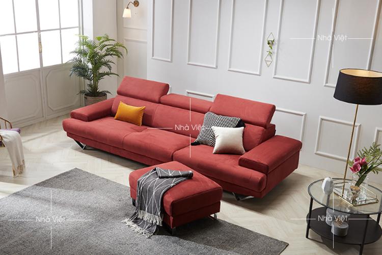 Sofa văng bọc vải màu đỏ mã 357