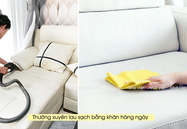 Kinh nghiệm làm sạch sofa da phòng khách màu trắng