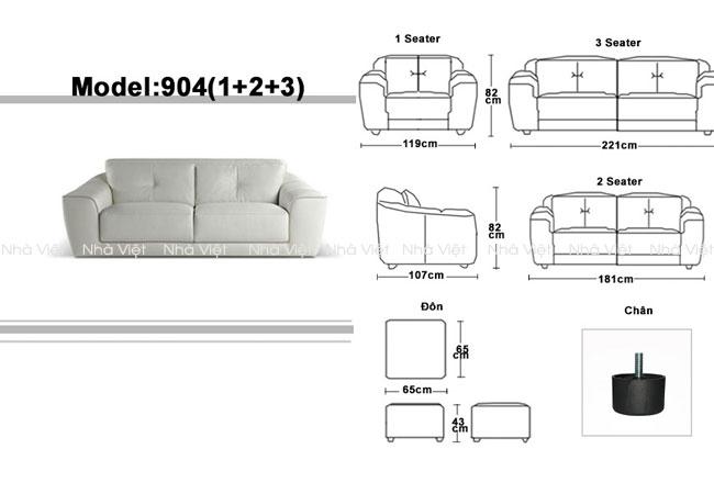 Ghế sofa đẹp cho phòng khách nhỏ kích thước như thế nào